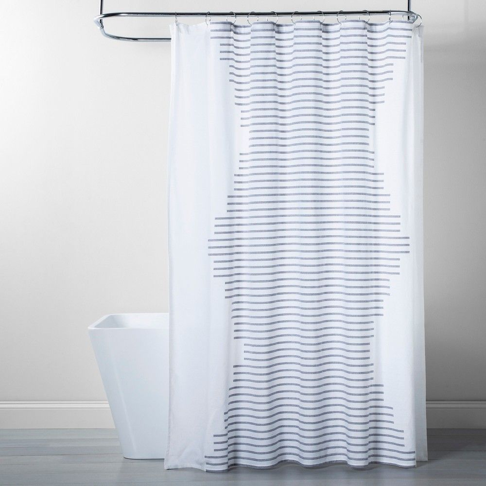 Fringe Stripe Shower Curtain Navy White Project 62 Blue