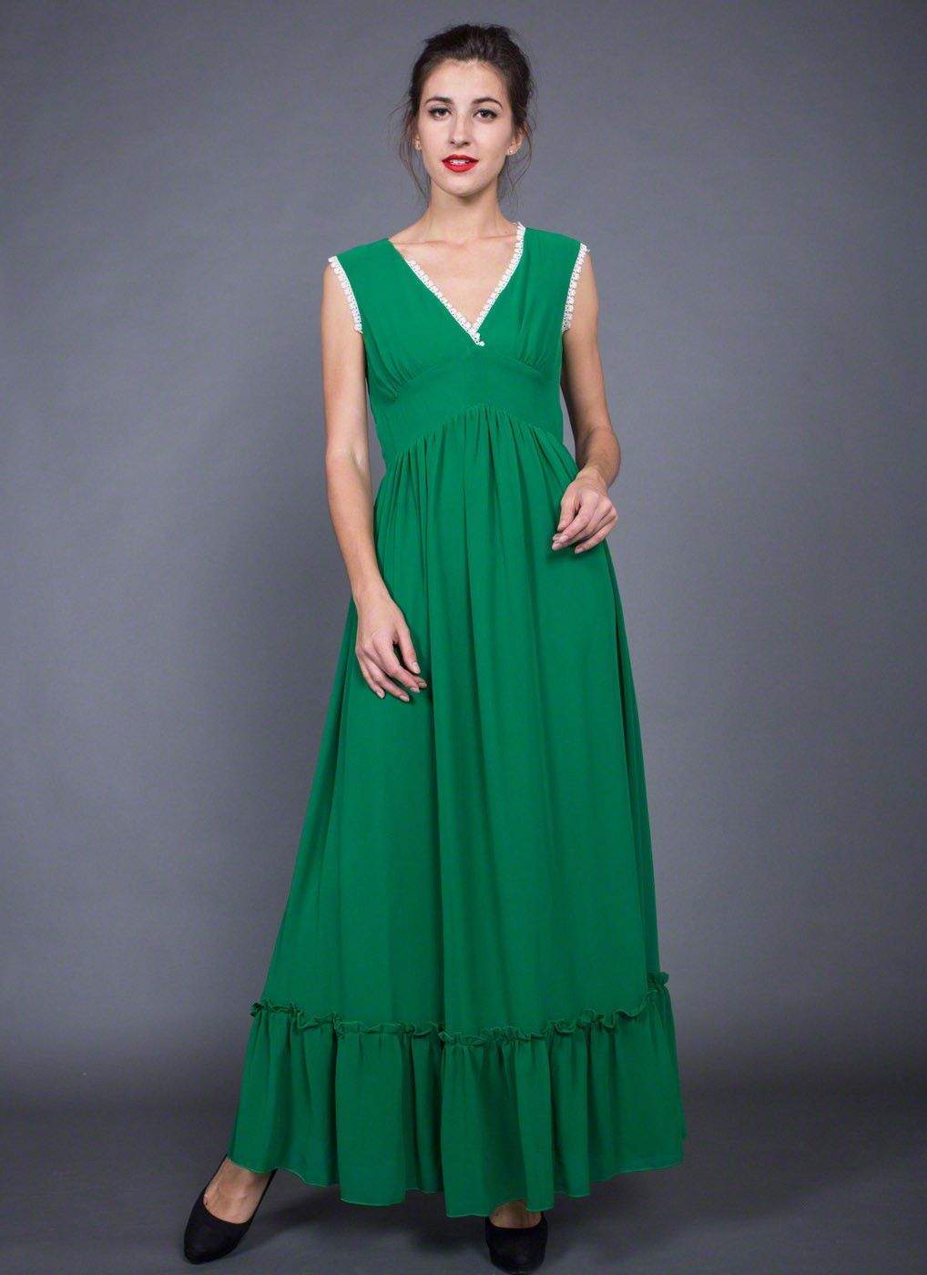445374db63 ... Emerald Green Prom Dress -Maxi Dress Elegant emerald green color V neck  Angled empire waist with wide waist yoke Refreshing white lace trim details  ...