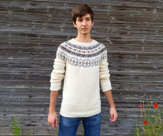 Fair Isle sweater Men's sweater Icelandic sweater Alpaca sweater ...
