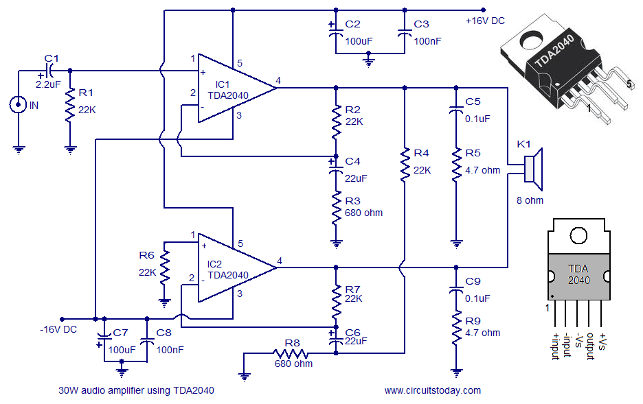 an audio amplifier circuit diagram and schematics of 30 watts usingan audio amplifier circuit diagram and schematics of 30 watts using tda2040 a monolithic integrated audio amplifier ic with low harmonic distortion