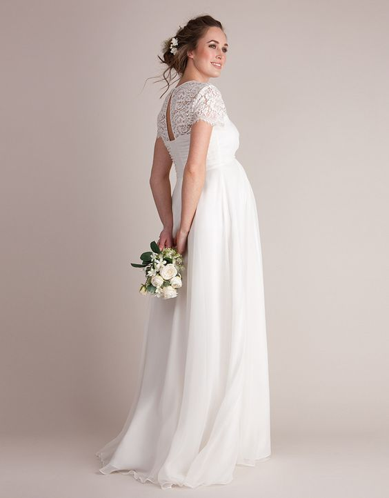 Ivory Silk & Lace Maternity Wedding Gown | Ivory silk, Ivory and Gowns
