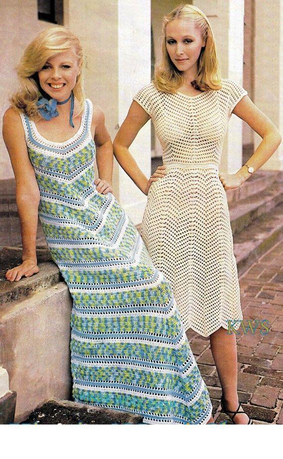 Crochet Pattern, Crochet Dress PDF Pattern, Maxi Chevron Dress ...