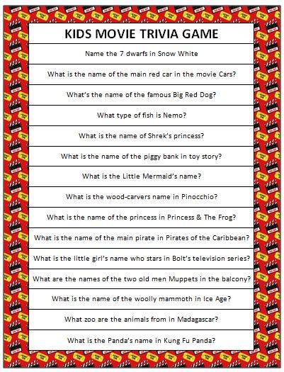 Kids Movie Trivia (Free Printable Kid movies, Movie