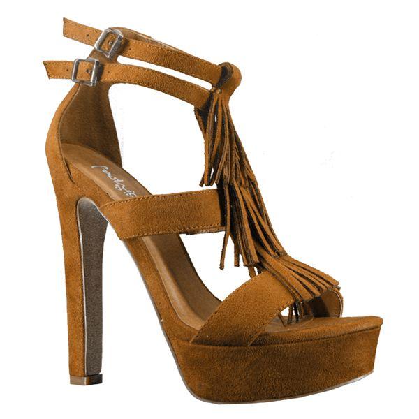 zapato sandalia cuero de ctacón y plataforma en ante
