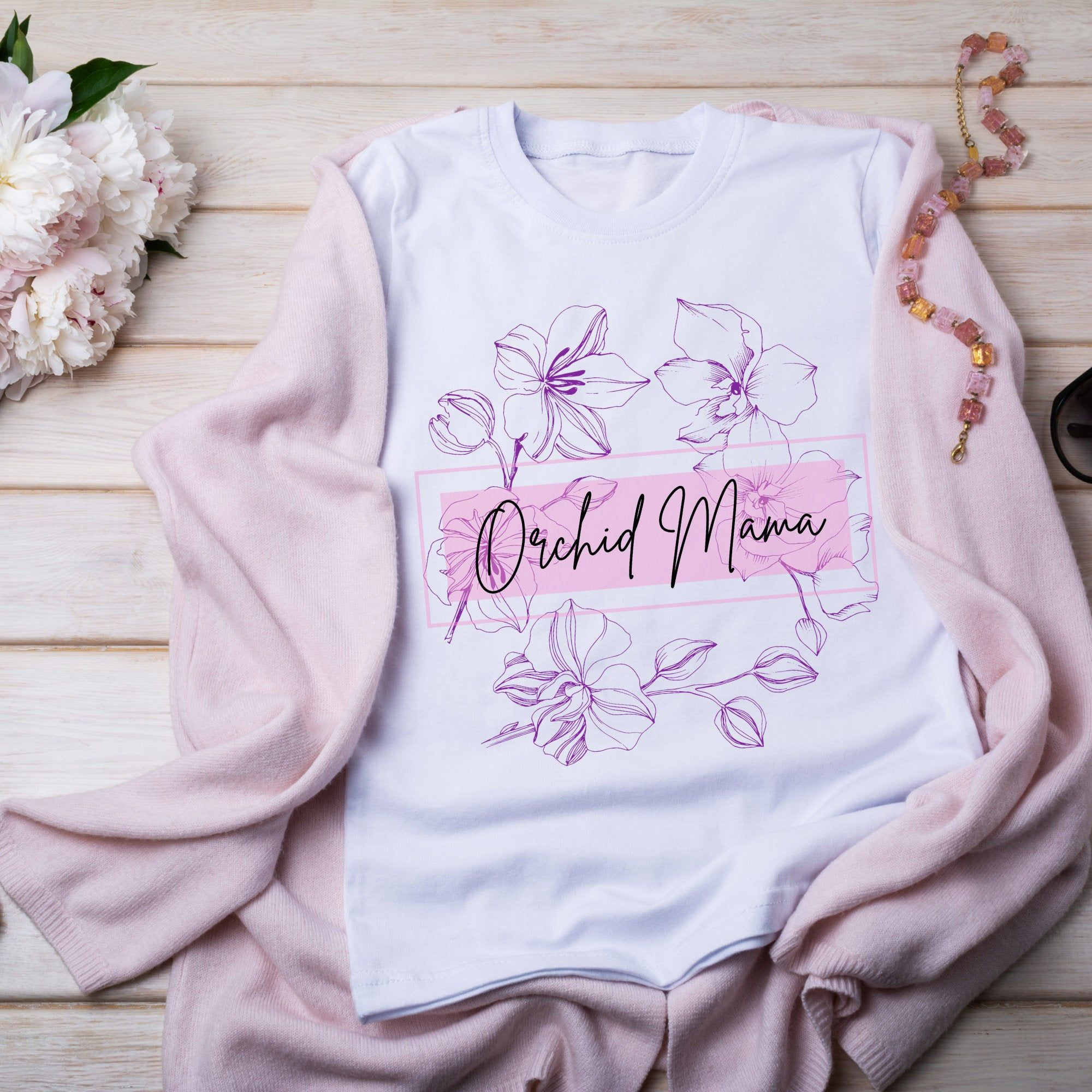 Orchid Mama Shirt, Orchid Mom Shirt, Orchid Lover Shirt, Orchid Gift Shirt, Flower Shirt, Women's Orchid, Plant Mom, Bella and Canvas Shirt by AmyLaelDesigns on Etsy