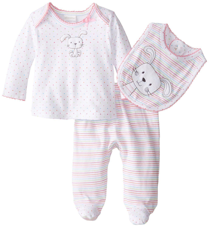 628e0c2eed0e Amazon.com  ABSORBA Baby-Girls Newborn Bunny Rabbit 3 Piece Footed ...
