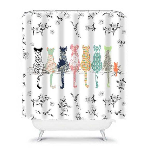 Exceptionnel Cat Shower Curtain, Shabby Chic Shower Curtain, Shower Curtains, Shabby  Chic Bathroom Decor, Cat Decor, Floral Shower Curtain, Cat Curtain