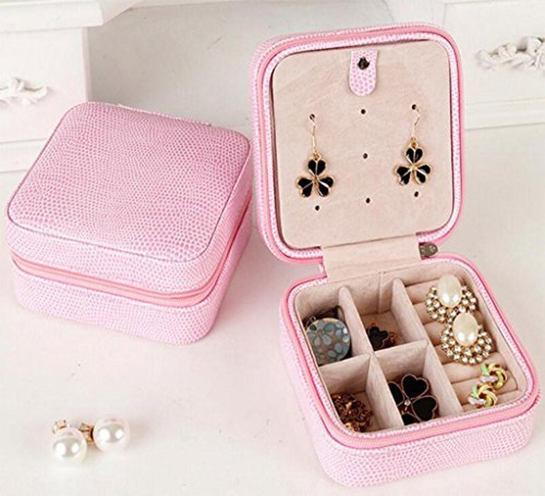 HOYOFO PU Leather Small Travel Jewelry Organizer BoxRed Brought