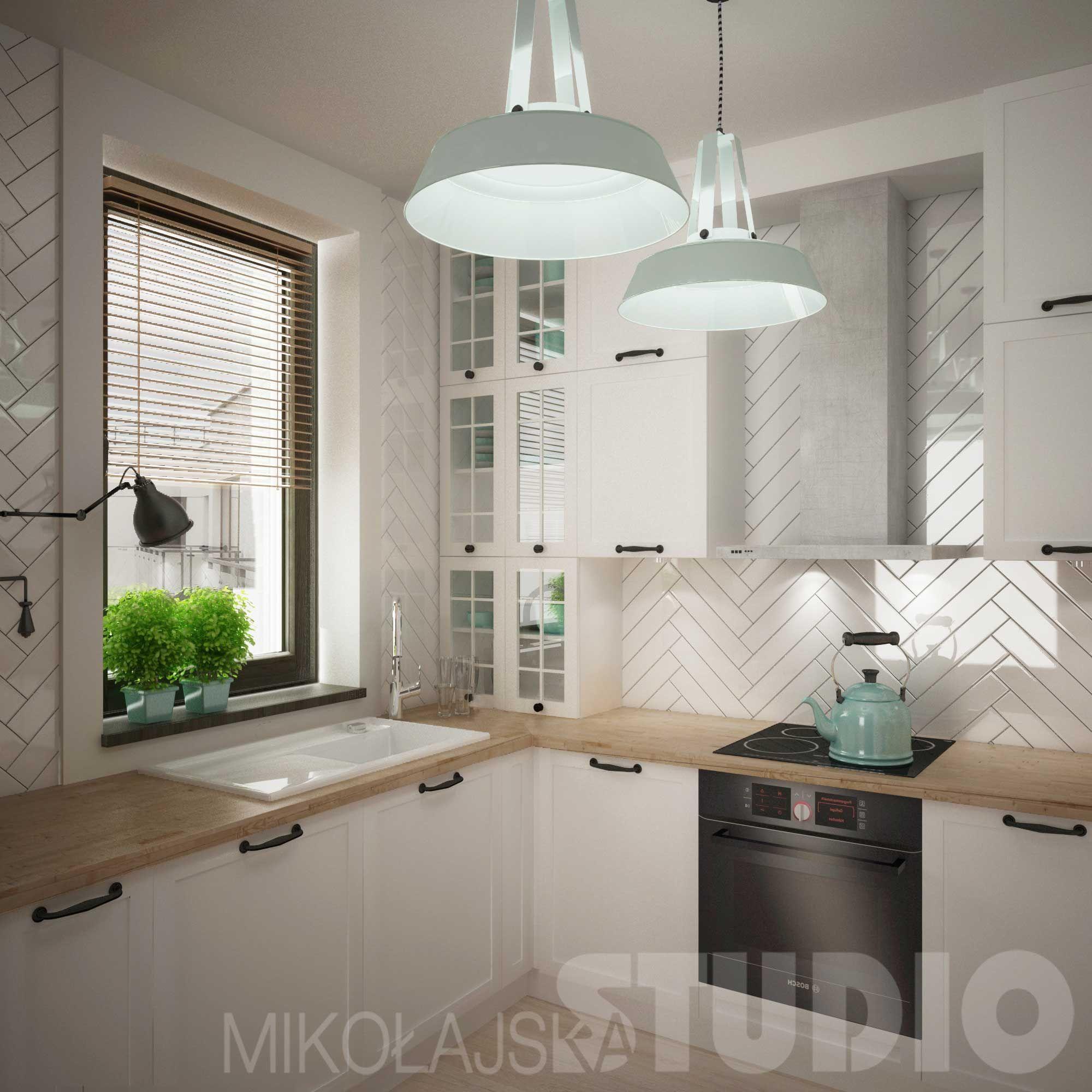 Chevron Na Scianie Nad Blatem Ozywia Biala Kuchnie Proj Mikolajska Studio Kitchen Remodel Modern Kitchen Design Kitchen Interior