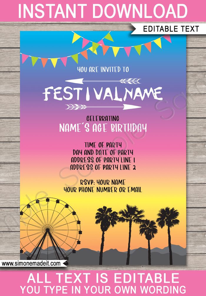 coachella party invitations template bright colors in 2018 party