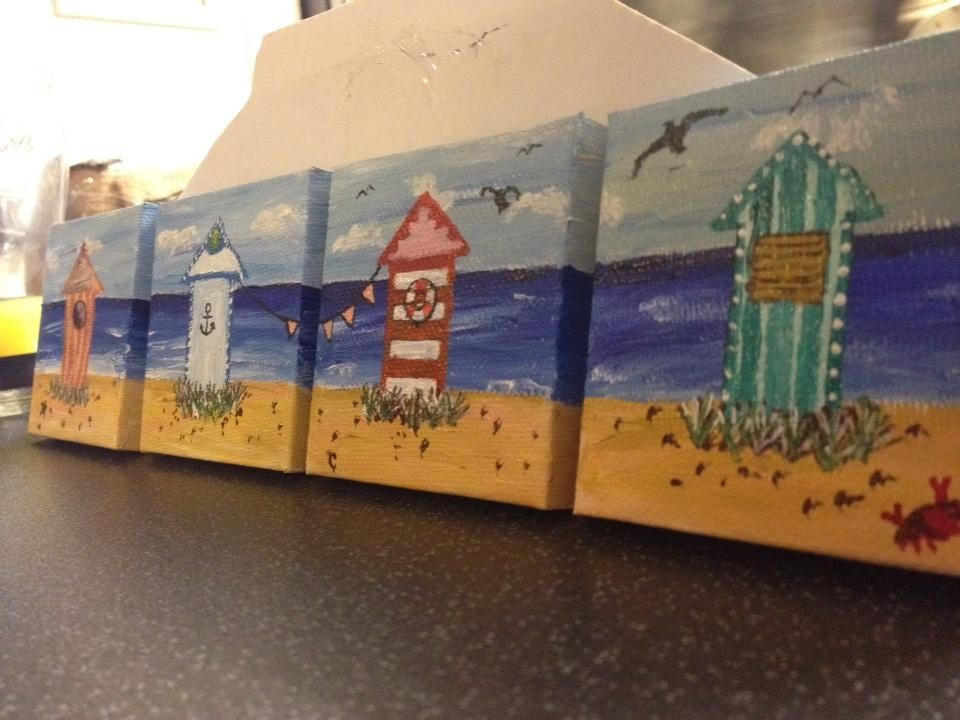 Acrylic Paint On Small Canvases Beach Inspired