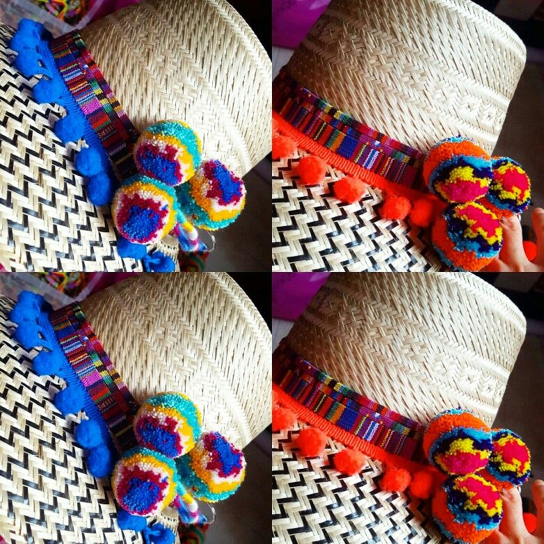41f0269fdcebd SOMBREROS DECORADOS WAYUU❤beautiful hat decorated with weave Wayuu ♡  sombrero de paja decorado con