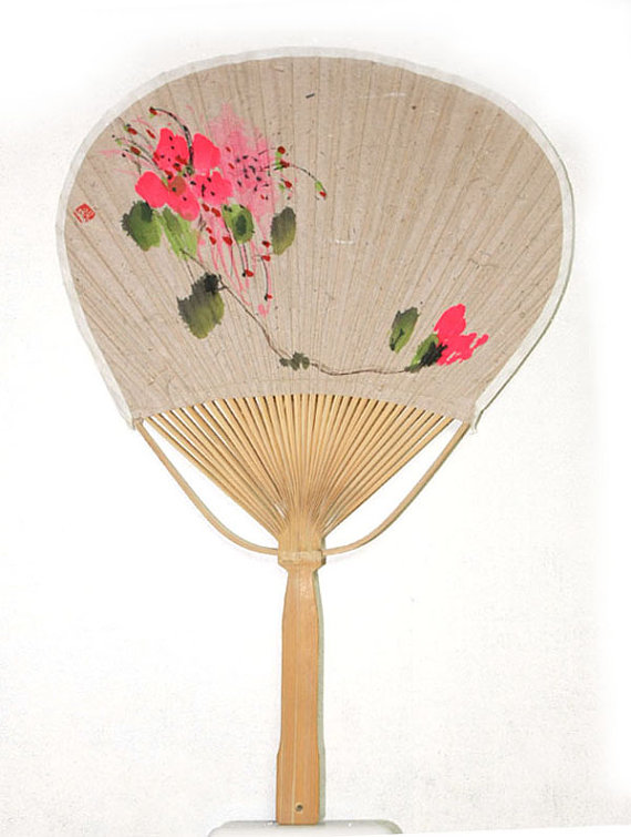 New Hand Painted Korea Koreanization An Azalea Flower Blossom Figure Bamboo Round Fan Korean Mullberry Paper Korean Art Korean Art Azalea Flower Painting