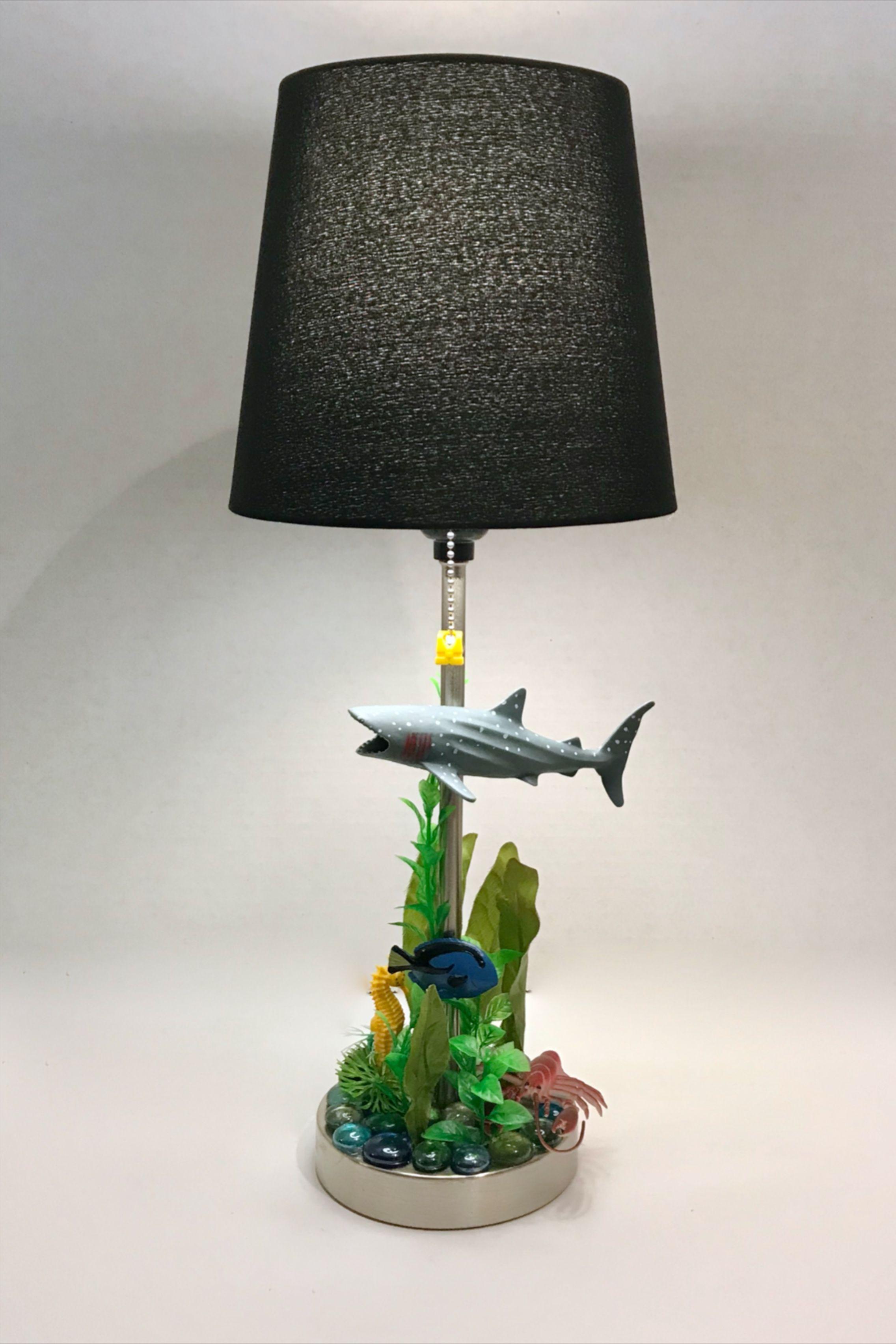 Shark lamp nightstand children/'s room decor ocean beach sea themed made to order