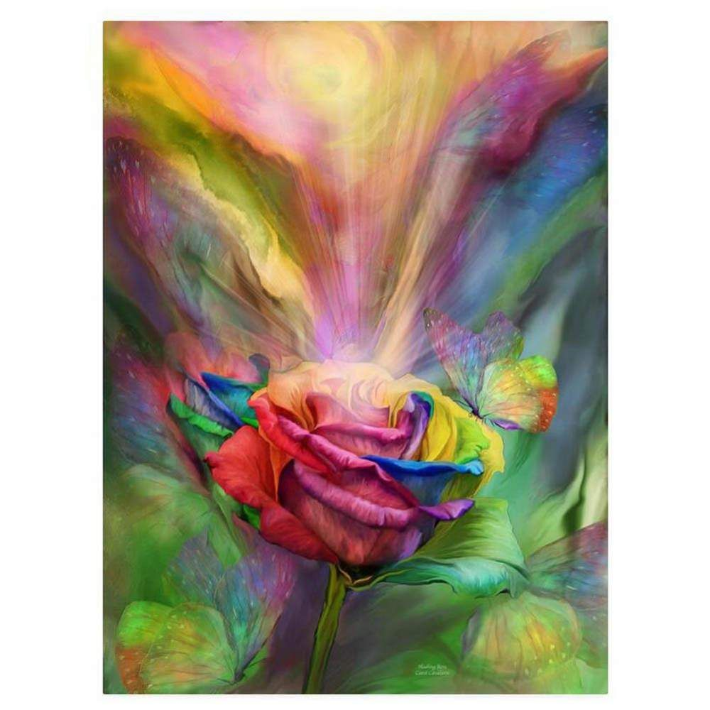 Colorful Rose 5D Round Diamond Painting DIY Embroidery ...