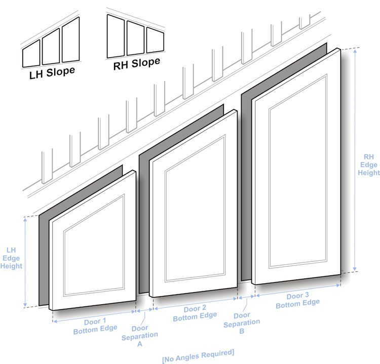 Grey Panelling Under Stairs: Measuring For Multiple Angled Doors And Panels In 2019