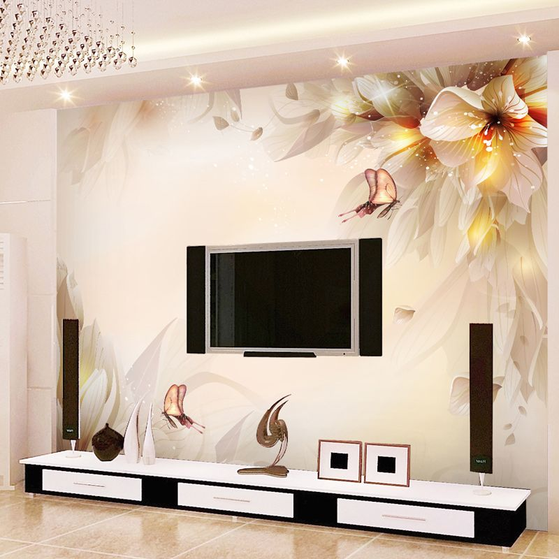 Chinese Style Flowers Butterfly 3D Mural Wall Painting Modern Simple Living Room TV Sofa Backdrop