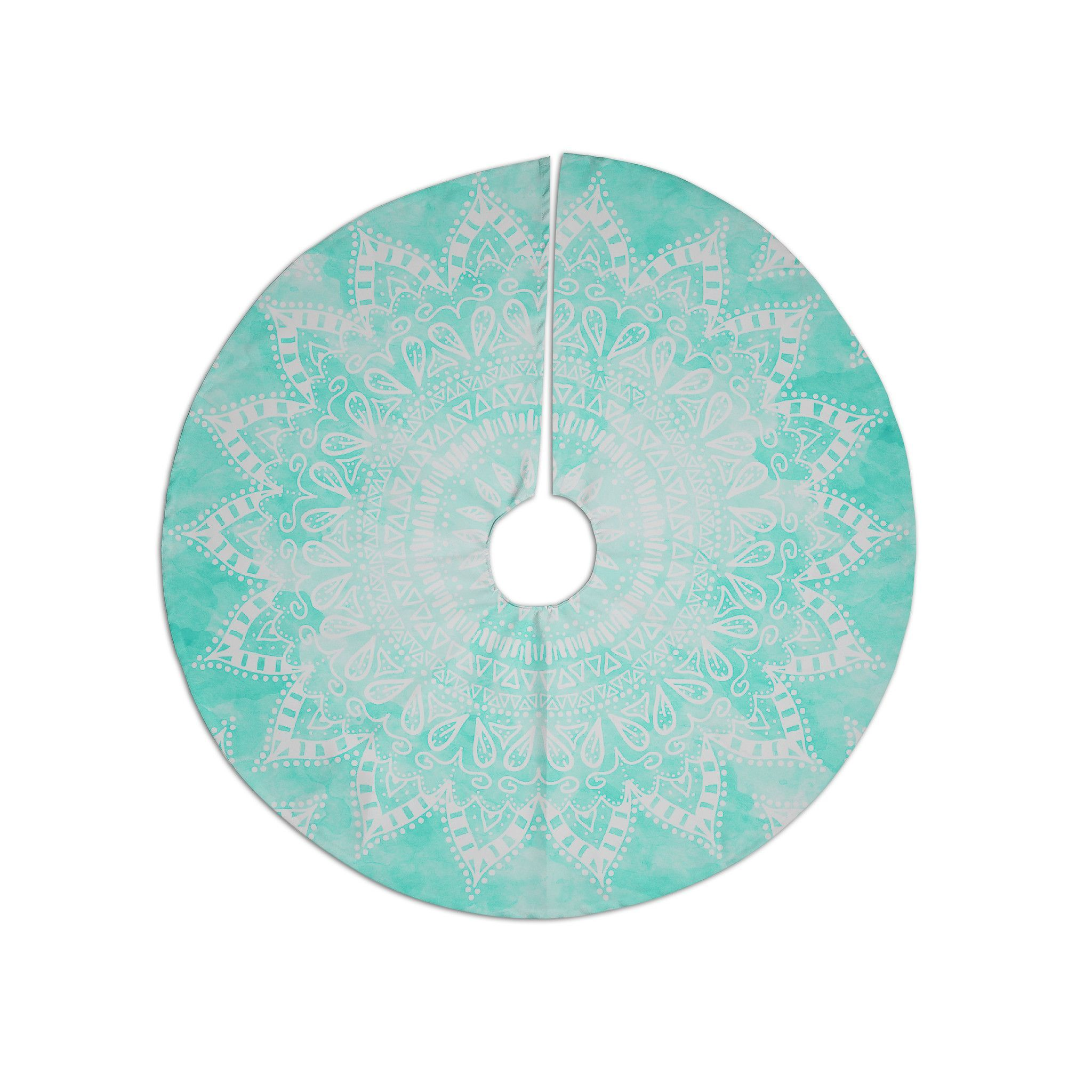 "Aqua Christmas Tree Skirt: Nika Martinez ""Boho Flower Mandala In Teal"" Aqua Green"