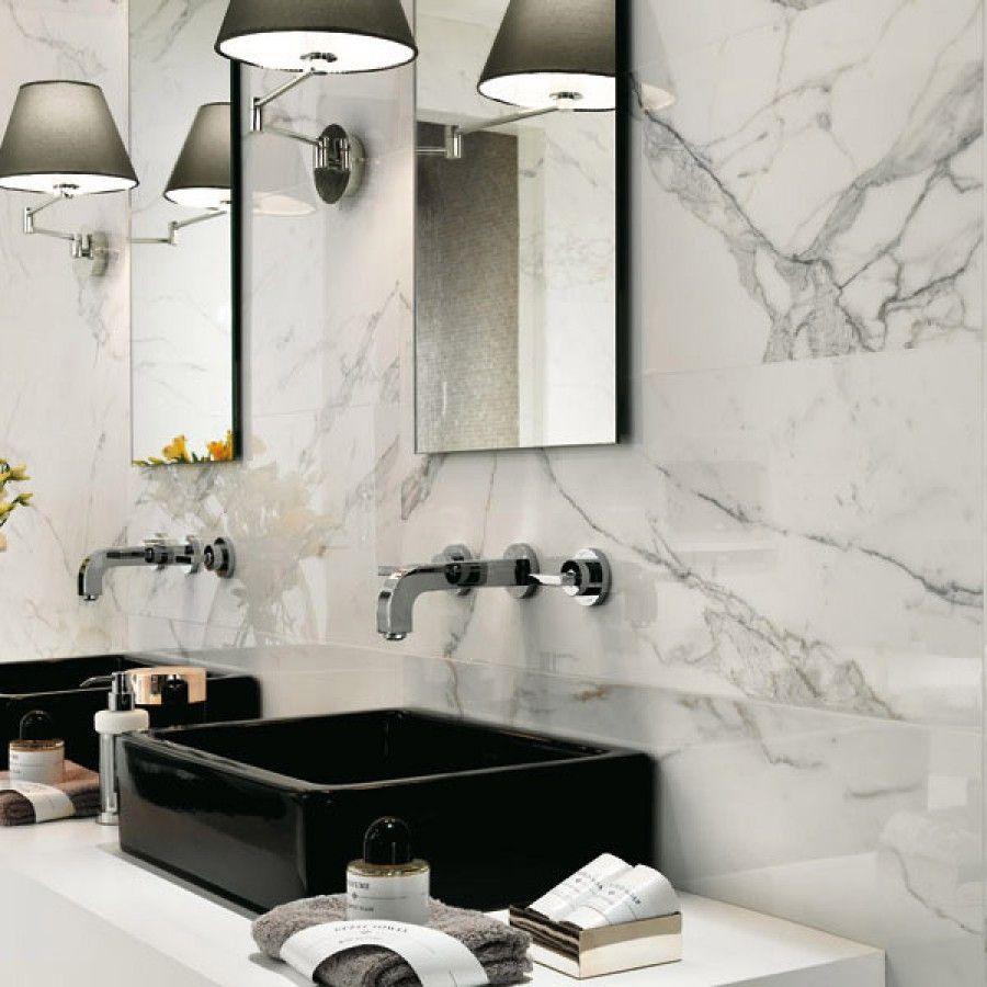 Italtile marvel calacatta extra gloss glazed ceramic for Porcelain bathroom tile designs