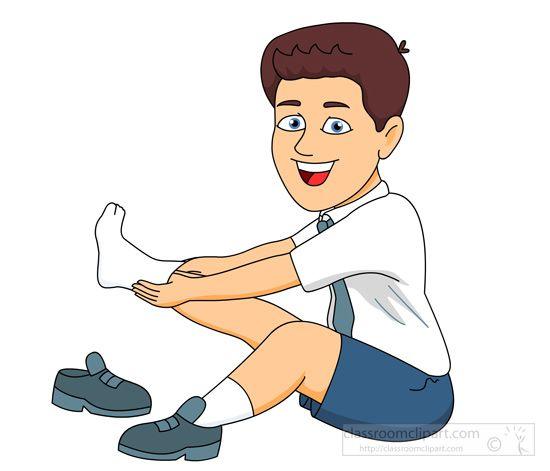 Put Clothes Away Cartoon ~ Boy sitting down putting on socks shoes g as