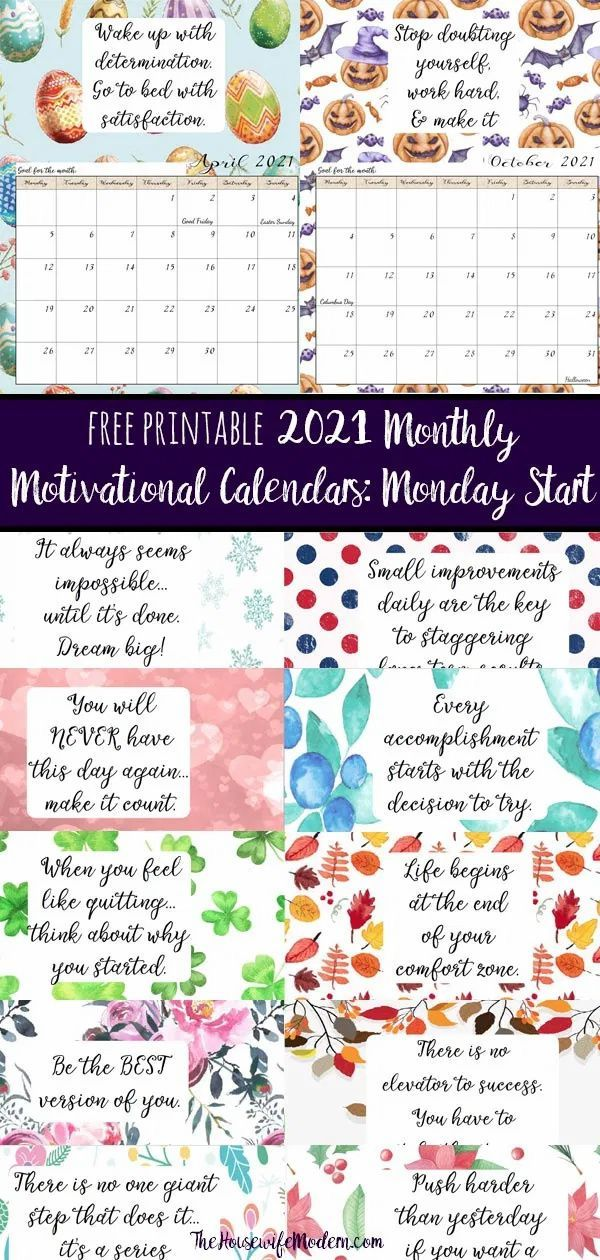 Free Printable 2021 Monday Start Monthly Motivational ...