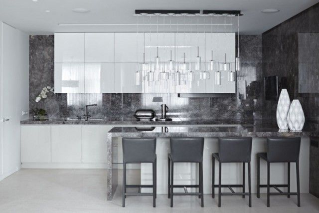 99 idées de cuisine moderne où le bois est à la mode - carrelage mur cuisine moderne