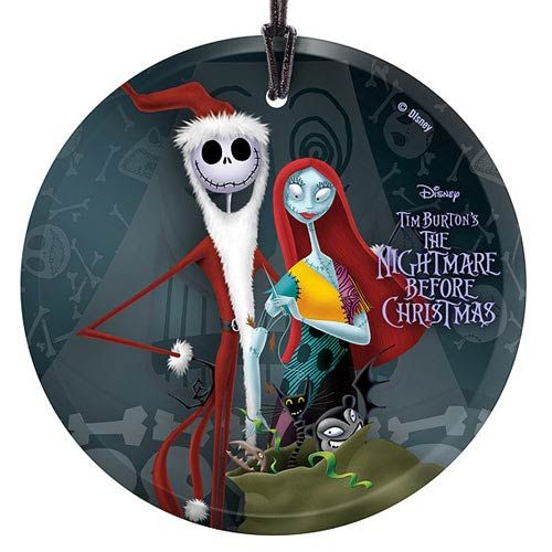 Nightmare Before Christmas Santa Jack and Sally Glass Print ...