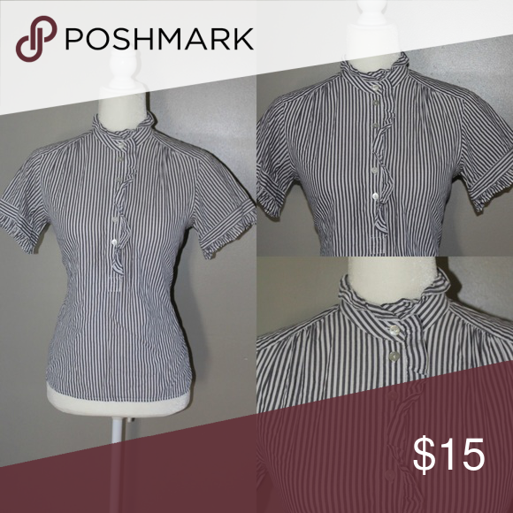 🛍FRENCH CONNECTION Button Down shirt Striped button down  ruffle front and collar shirt from EYESHADOW black and white striped French Connection Tops Button Down Shirts