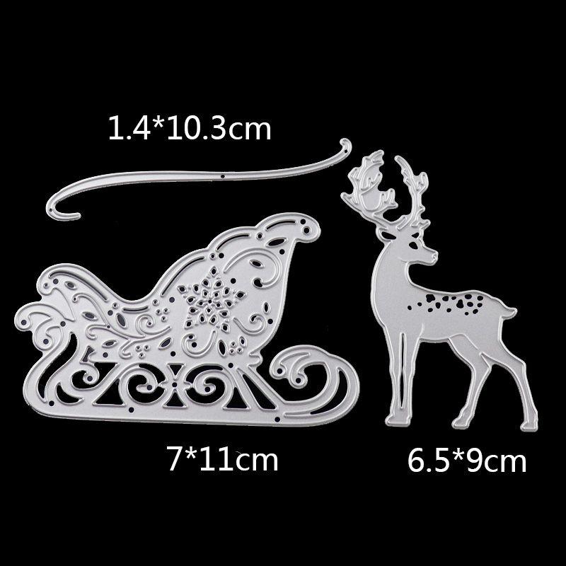 Reindeer  Die Cuts 10 x White Merry Christmas