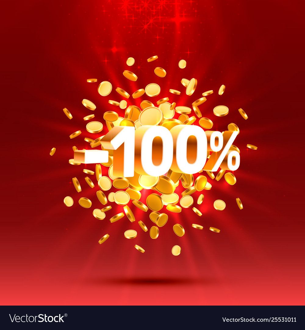 Podium action with share discount percentage 100 Vector