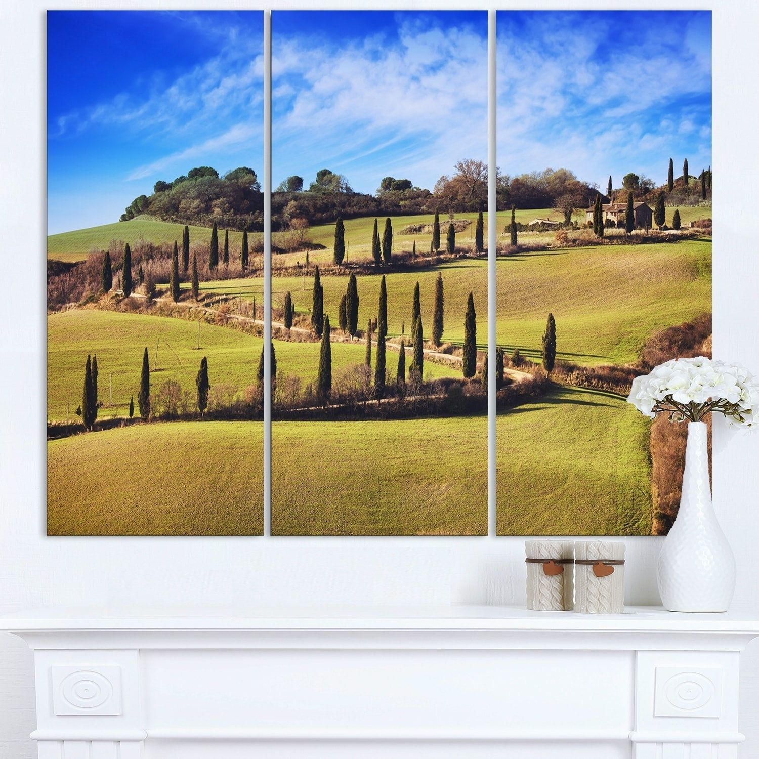 Cypress Trees Scenic Road Siena Italy - Oversized Landscape Wall Art ...