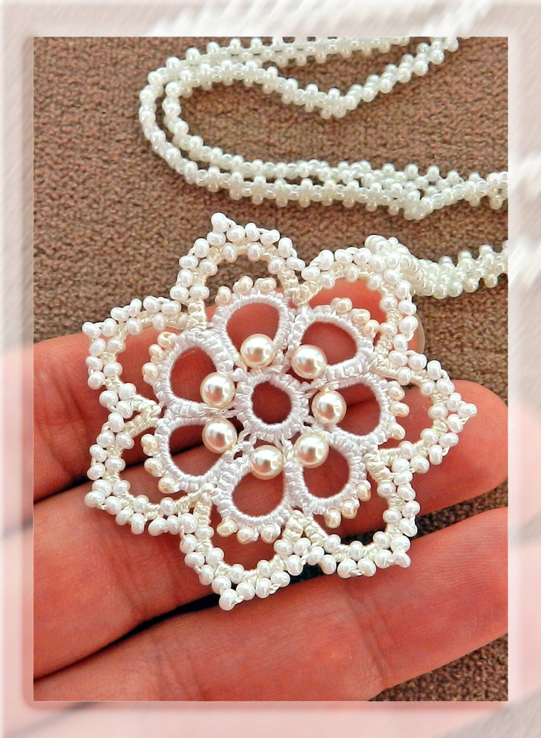 Tatted milky pendant with beads - Tatted jewelry - Round pendant - Bridal jewelry - Wedding jewelry - Lace jewelry by LacyLoveJewelry on Etsy https://www.etsy.com/listing/207716131/tatted-milky-pendant-with-beads-tatted