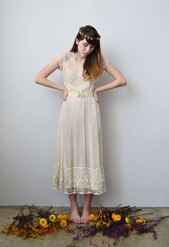 vintage 1930s sheer wedding dress with lace | Vintage Fashion ...