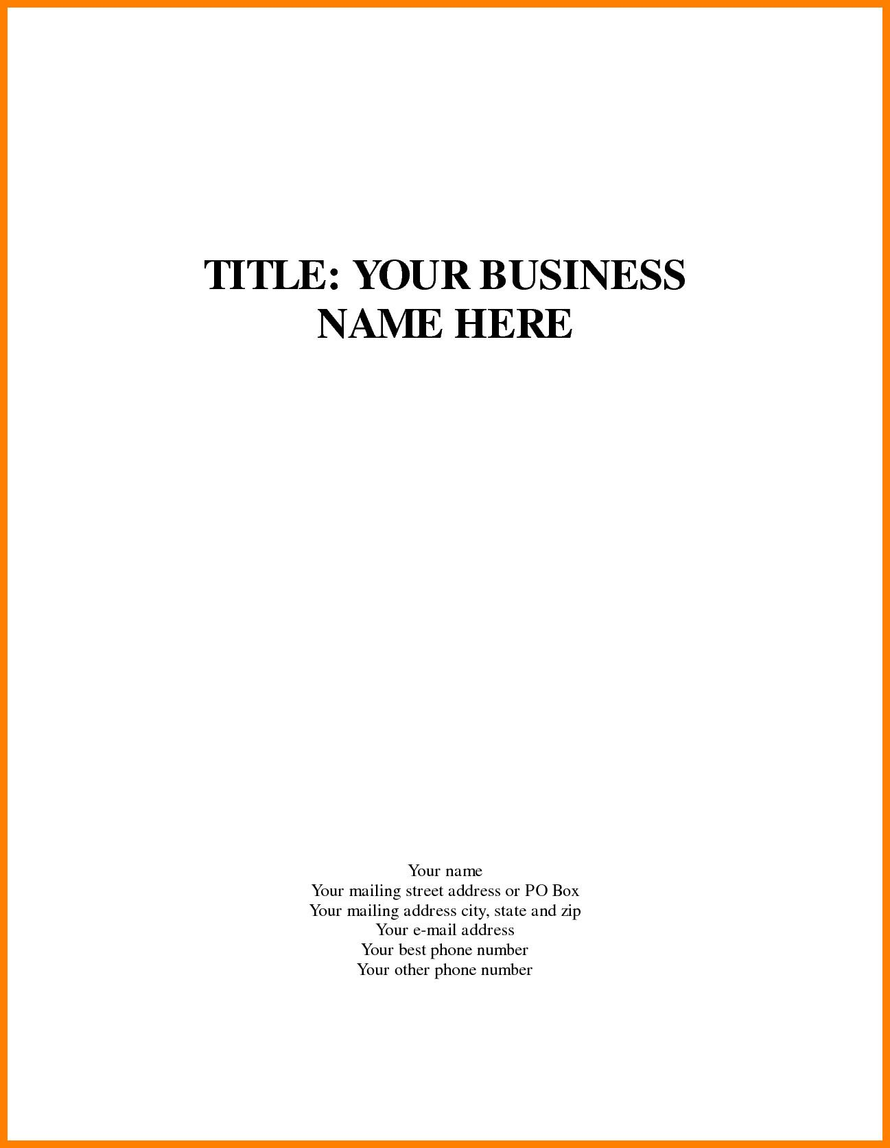 The cool Business Plan Cover Page Te Stark Houseofstrauss