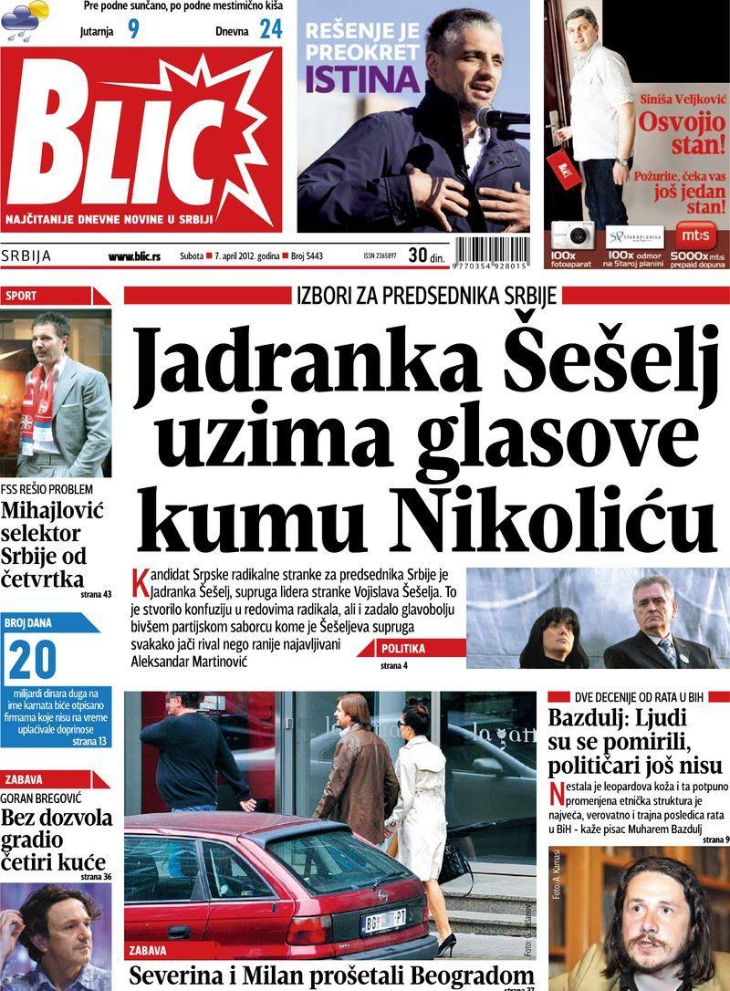 """Naslovna strana """"Blica"""" za 7. april 2012. Baseball cards"""