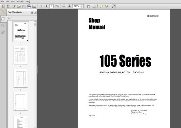 Komatsu 4d105 3 S4d105 3 6d105 1 S6d105 1 105 Series Diesel Engine Shop Manual Sebe6130a04 Komatsu Manual Diesel Engine