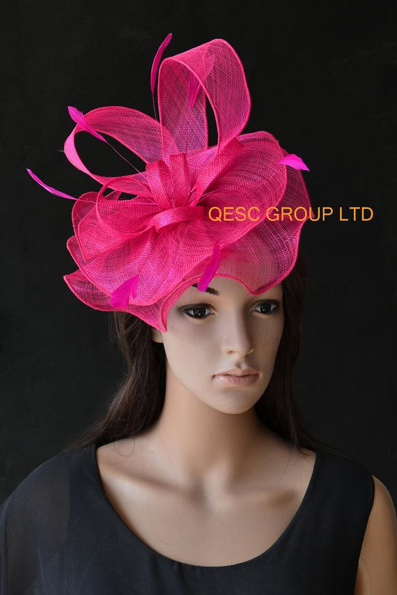 1fb13285bd9b6 Hot pink fuchsia Big sinamay fascinator Feather fascinator for Kentucky  Derby Wedding party