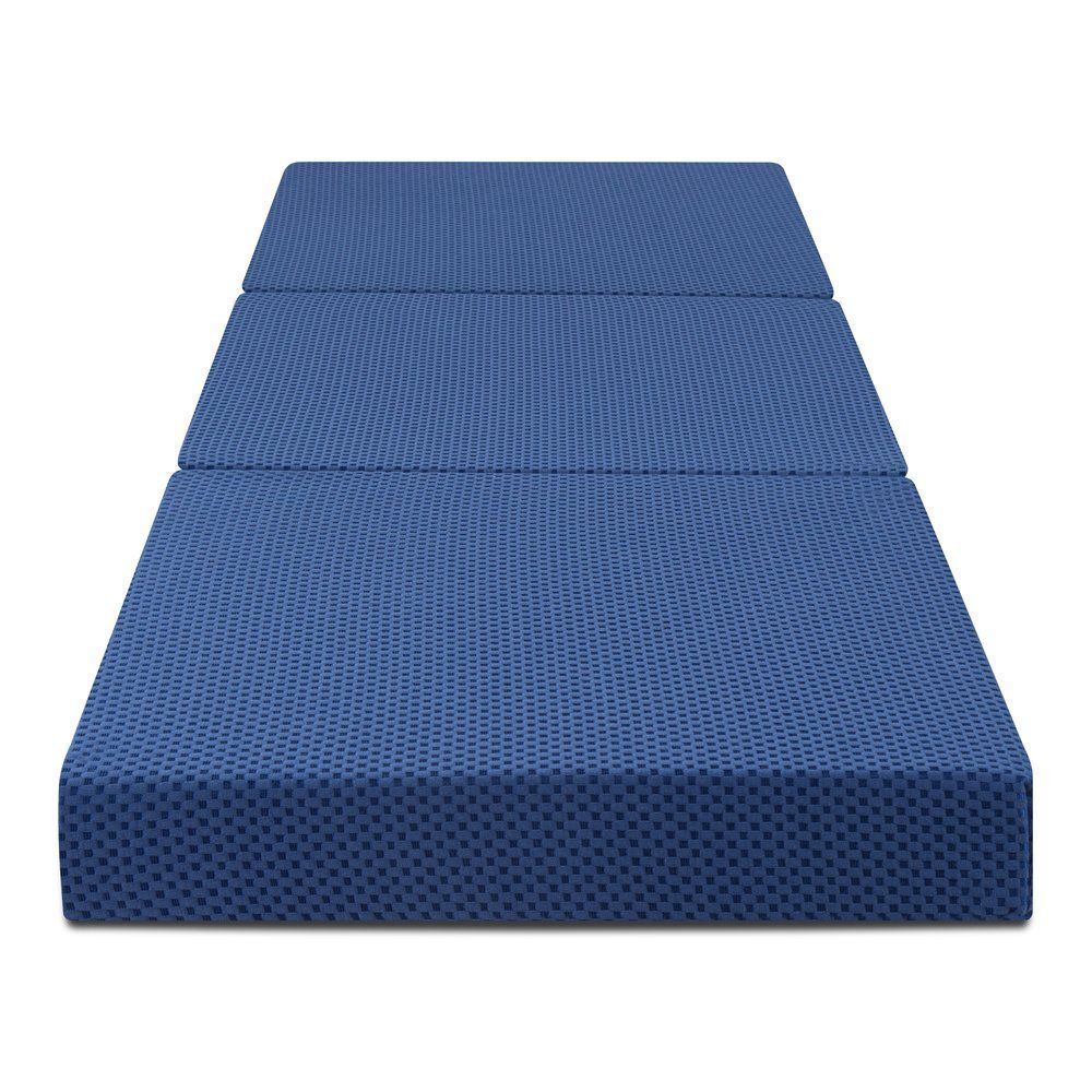 olee sleep trifolding memory foam mattress blue 4 h for more