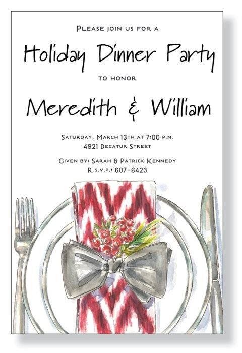 30 Days of Holiday Party Ideas featuring Holiday Potluck – Christmas Dinner Party Invitations