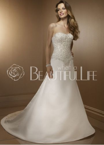 23849Strapless Sweetheart Satin A Line Wedding Dress With Beading Embroidery Appliques