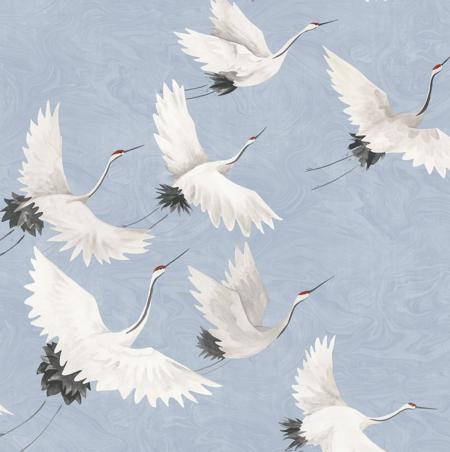 Windsong Periwinkle Crane Wallpaper Animal Print Wallpaper Nuwallpaper Peel And Stick Wallpaper