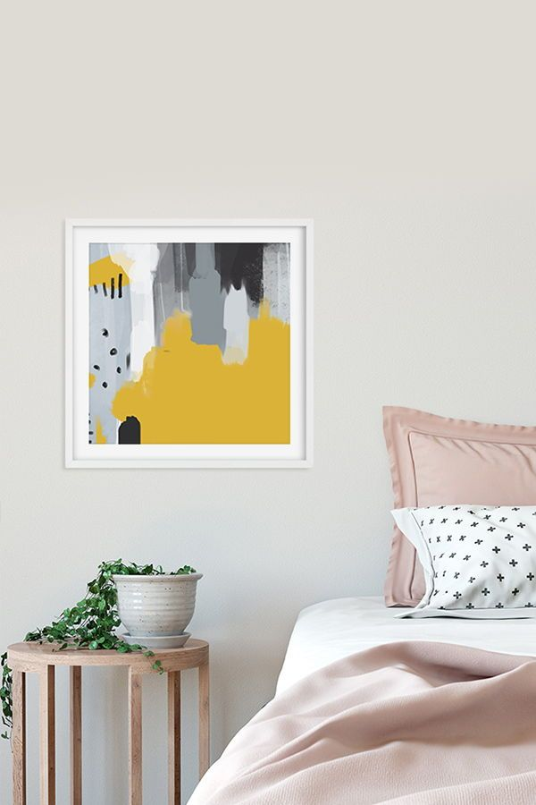 Modern Art Print In Yellow And Grey Large Bedroom Wall Art Enchanting Contemporary Bedroom Wall Art