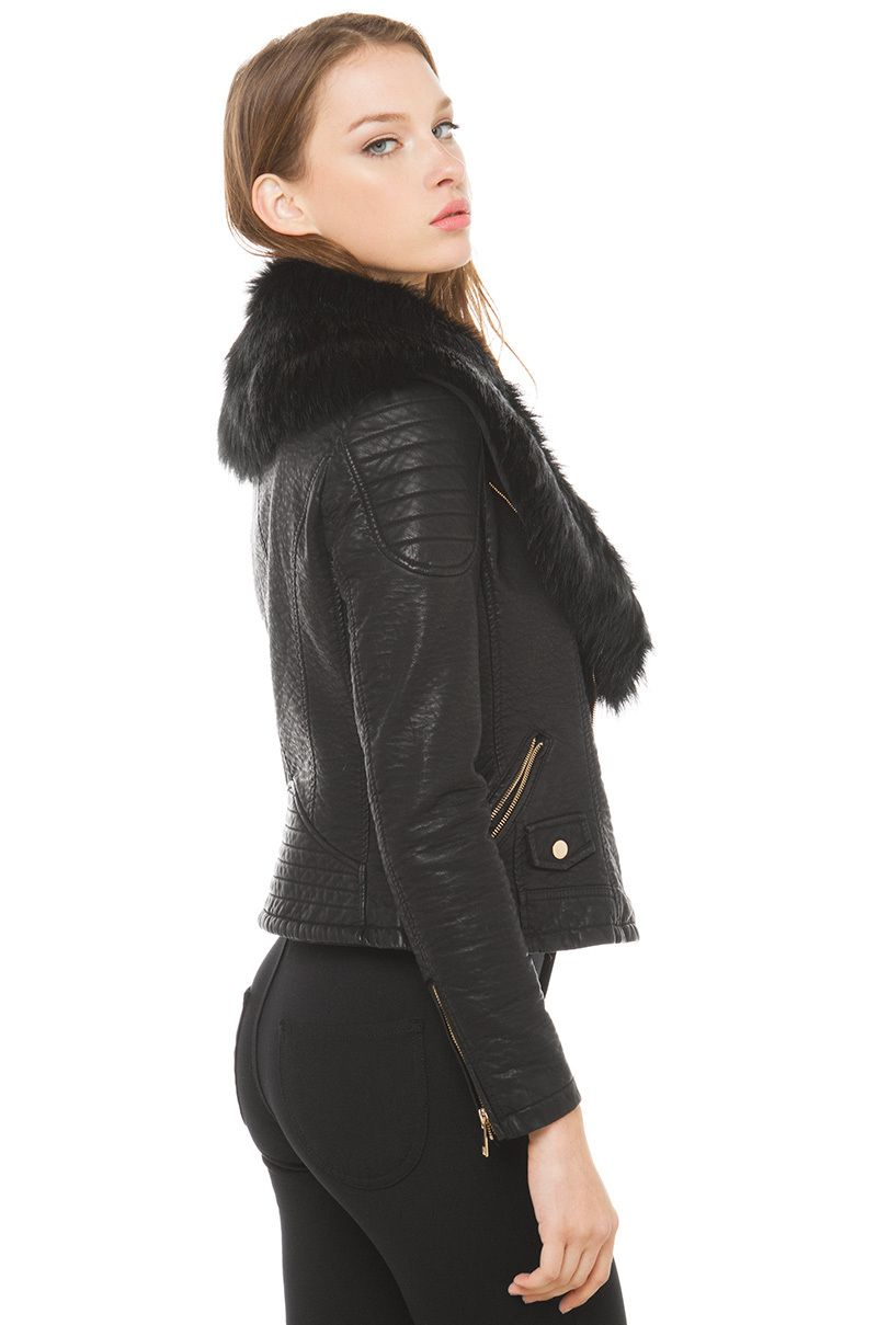 Faux leather fur collar jacket