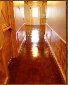 Cabin With Natural Pine Wainscot Trim Love This The Acid Stained Concrete Floors