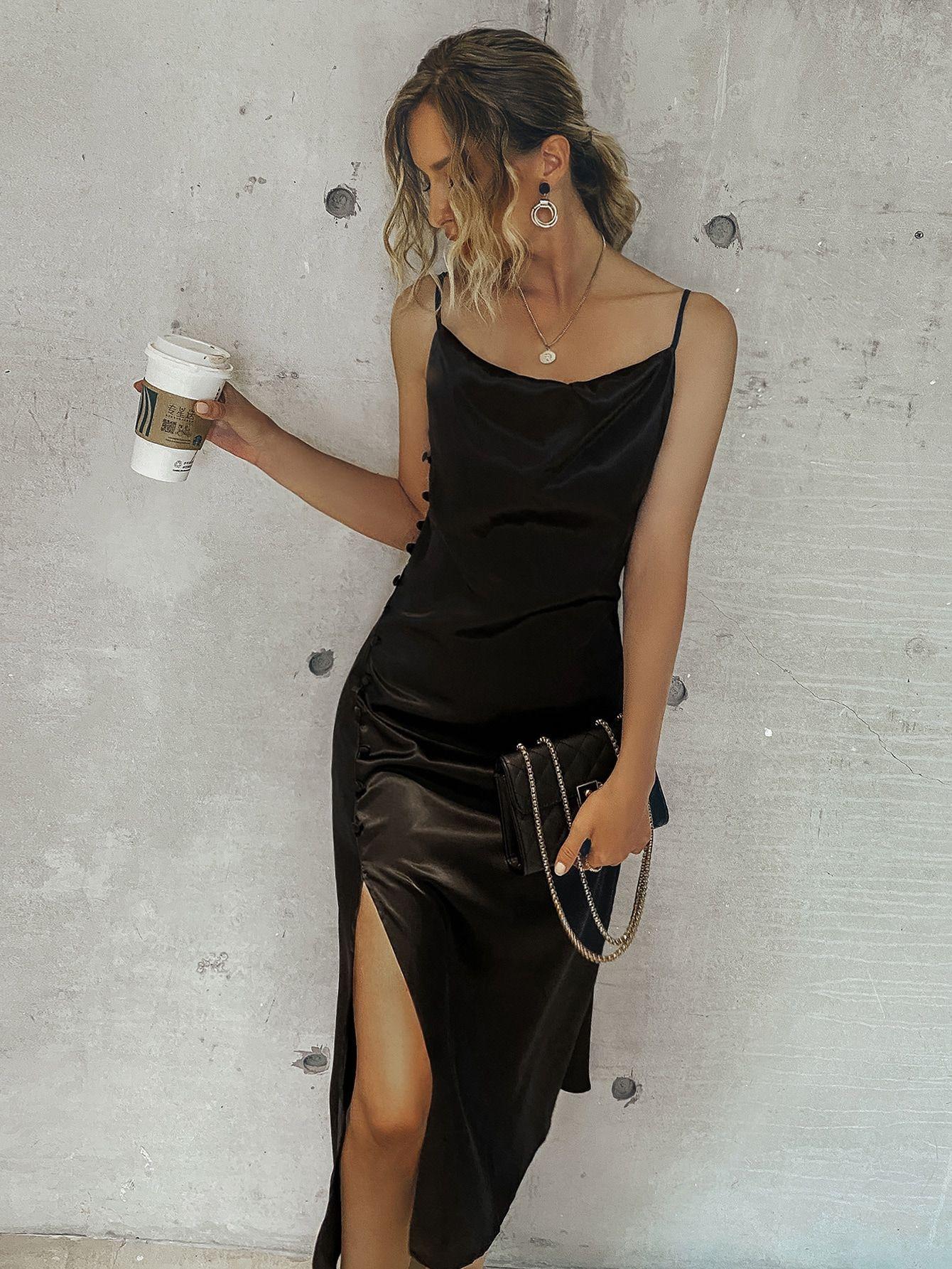 Black Friday 2020 Satin Split High Cami Dress Shein Usa In 2020 Dresses Fashion Clothes Women Cami Dress