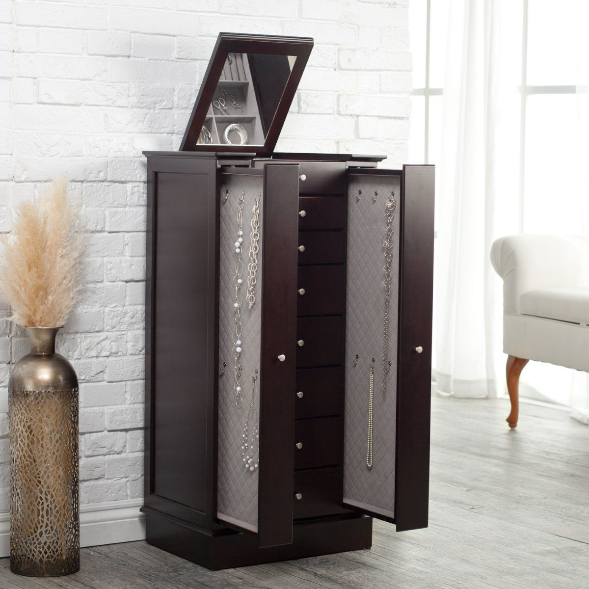 Exquisite Jewelry Armoire with Quilted Pullout Storage Espresso