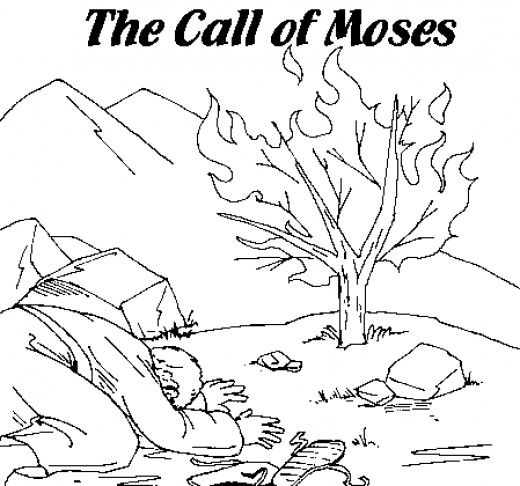 Moses Printable Coloring Pages Burning bush Sunday school and Bible