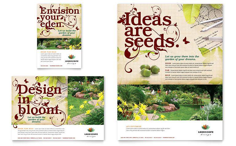 landscape design flyer ad template design - Garden Design Template
