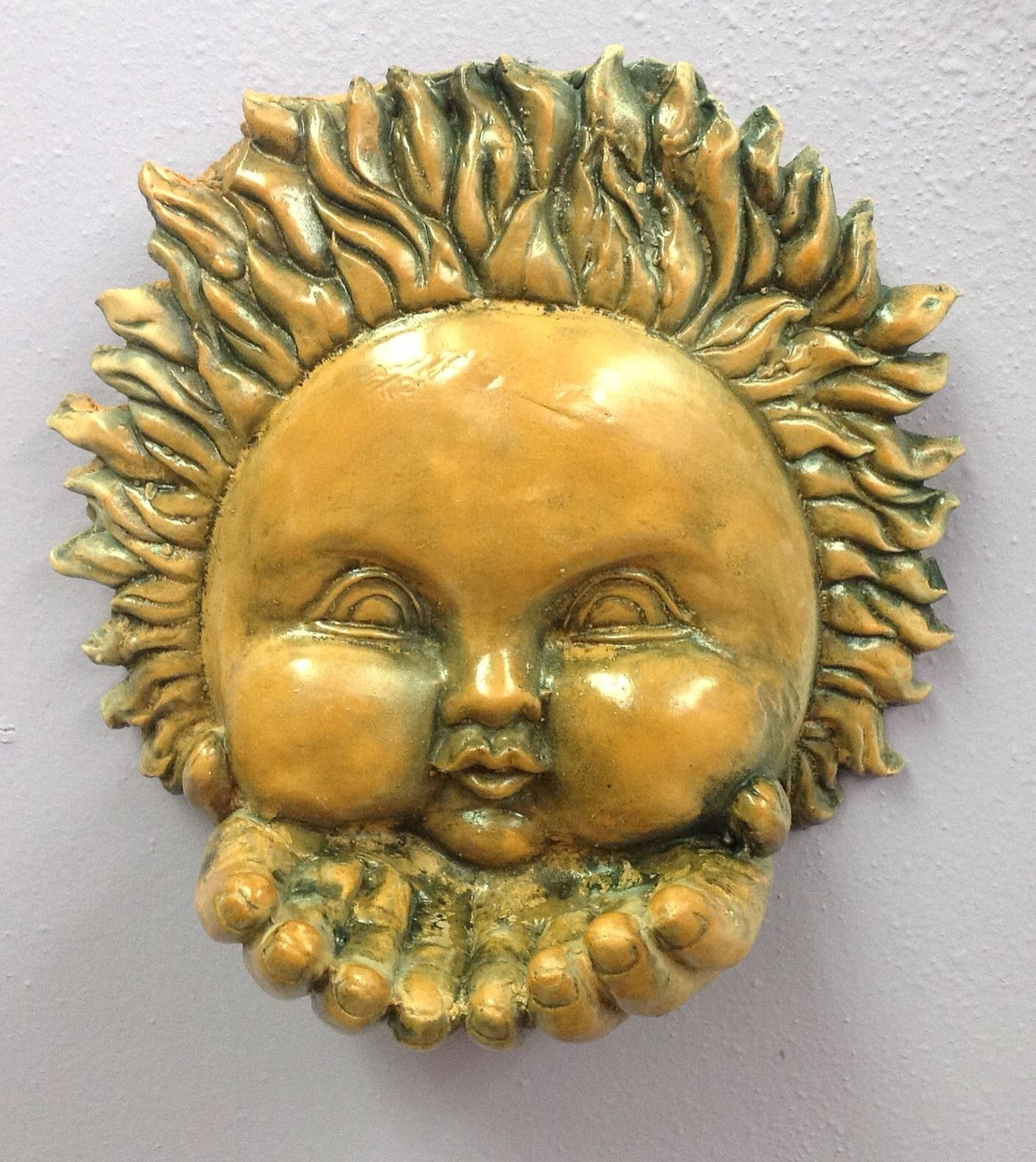 Terracotta Sun Bird Feeder Wall Plaque Mask Celestial Collection ...