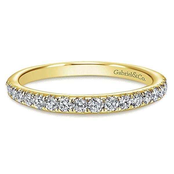 14k Yellow Gold Diamond Straight Wedding Band angle 1